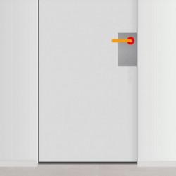 placa de empuje inox 15cm x 30cm con 3 agujeros para lado derecho de puerta