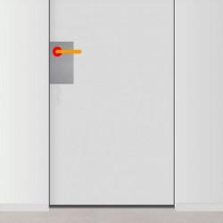 placa de empuje inox 15cm x 30cm con 3 agujeros para lado izquierdo de puerta