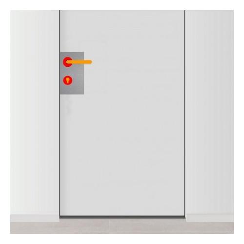placa de empuje inox 15cm x 30cm con 6 agujeros para lado izquierdo de puerta