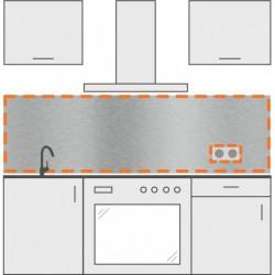 salpicadero inox de cocina con 1 agujero para enchufe