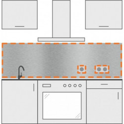 salpicadero inox de cocina con 2 agujeros para enchufes