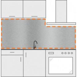salpicadero a medida inox de cocina con corte derecho
