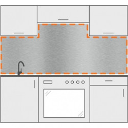 salpicadero inox a medida de cocina con 2 cortes