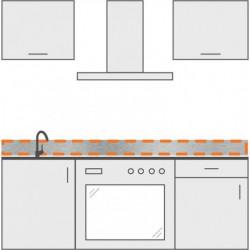 cenefa en inox para cocina 60 cm x 10 cm