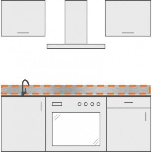 cenefa en inox para cocina 100 cm x 10 cm