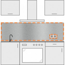 Frente de cocina con agujero rectangular